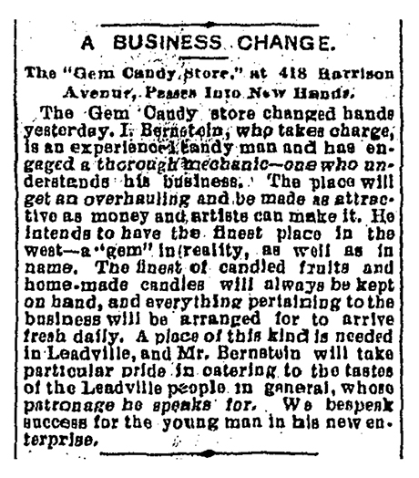 An article in The Herald Democrat announcing the change of ownership of The Gem to Bernstein.