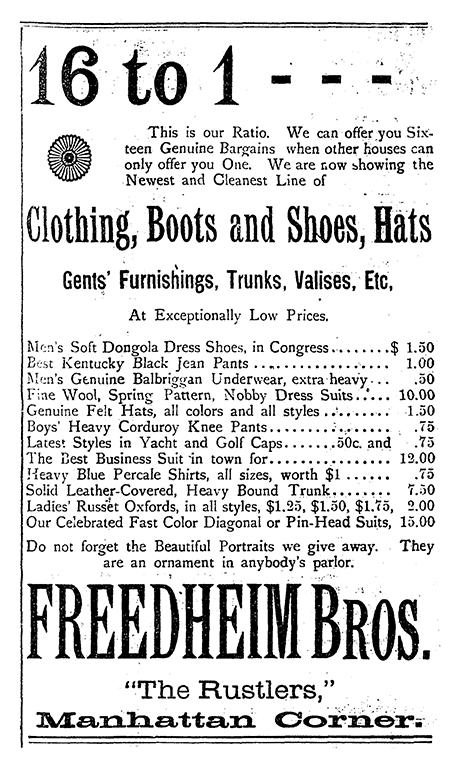 An early ad for Freedheim Brothers Clothing.