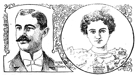 This lithograph of Alfred and Carrie Freedheim appeared in the April 30, 1899 edition of the Herald Democrat newspaper.