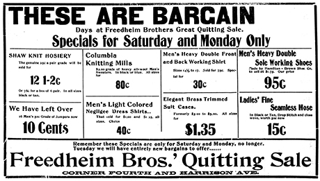 "This advertisement notes a ""Quitting Sale"" for the Freedheim Bros.' clothing store at 4th and Harrison, January 26, 1902."