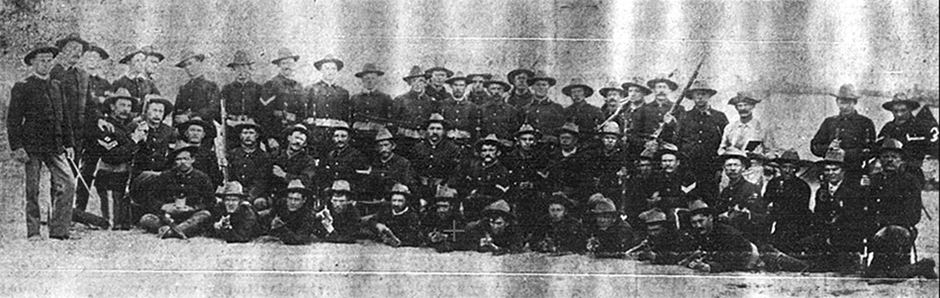 Company F, 1st Colorado Infantry shortly before or after they returned to Leadville in the early autumn of 1899.