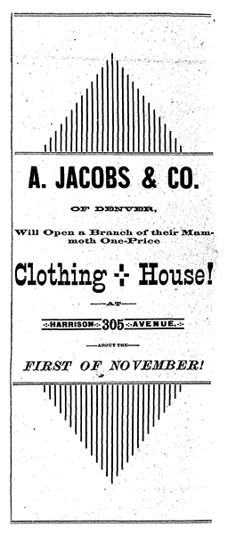Advertisement for A. Jacobs & Co.