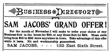 1896 advertisement for Sam Jacob's clothing operation.