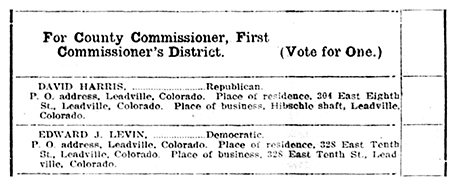 "These were the two candidates for the ""County Commissioner, First Commissioner's District"" on the Official List of Nominations."