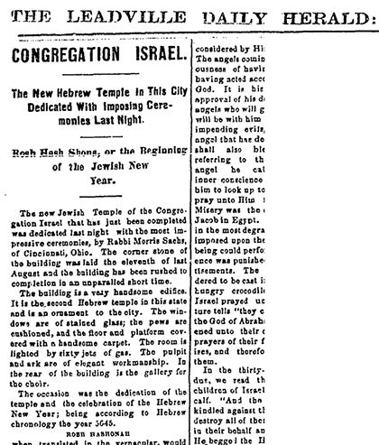 """Congregation Israel"" Leadville, CO; USA. Leadville Daily Herald, September 20, 1884. p 4."