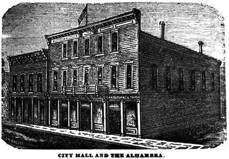 City Hall at 132-134 East 6th Street around 1880.