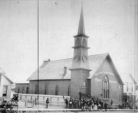 The Presbyterian church building around 1892 shortly before it was acquired by the Knesseth Israel Congregation.
