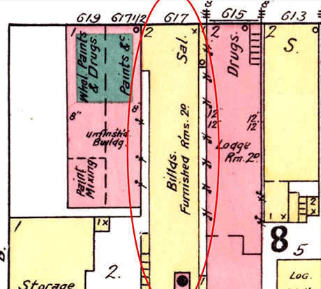 Elias's storefront from 1915 until 1919 and as shown on an 1895 Sanborn fire insurance map.